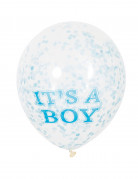 6 palloncini in lattice it' a boy con coriandoli
