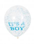 6 palloncini in lattice it' a boy con coriandoli