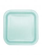 16 piattini quadrati color menta 17 cm