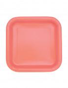 16 piattini quadrati color corallo 17 cm