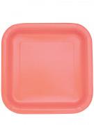 14 piatti quadrati in cartone color corallo 22 cm