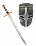 Spada e casco da cavaliere guerriero per bambino