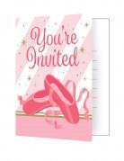 8 inviti di compleanno ballerina rosa e oro