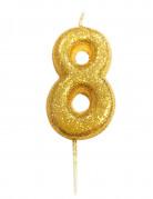 Candela numero 8 brillantini oro