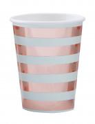 8 bicchieri in cartone a righe rosa e menta