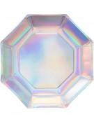 8 piatti in cartone iridescenti 23 cm
