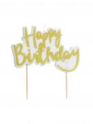 Candela per torta Happy Birthday color oro