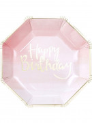 8 piatti in cartone rosa e oro Happy Birthday 25 cm