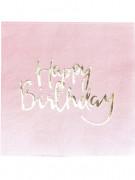 20 tovaglioli di carta Happy Birthday rosa e oro