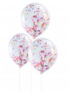 5 palloncini trasparenti con coriandoli multicolor