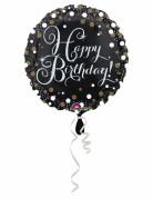 Palloncino alluminio Happy Birthday nero scintillante