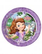 8 piatti in cartone Sofia la principessa e l'unicorno™ 23 cm