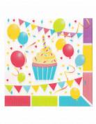 12 Tovaglioli in carta con palloncini di compleanno