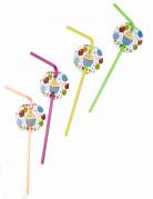 6 Cannucce con medaglione palloncini di compleanno