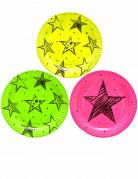 6 piatti in cartone Neon Party 23 cm