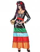 Costume messicano colorato lungo Dia de los muertos donna