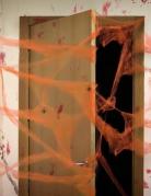 Decorazione ragnatela arancione con ragni Halloween