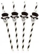8 cannucce a righe con scheletro Halloween