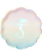 12 piatti di plastica pastello con sirena iridescente 20 cm