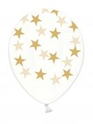 6 palloncini in lattice trasparenti con stelle dorate