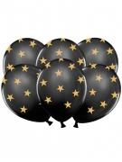 6 palloncini in lattice nero con stelle dorate