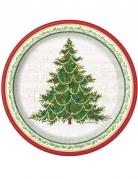 8 piattini in cartone albero di Natale classico 18 cm