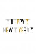 Ghirlanda Happy New Year oro e nero