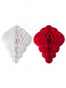 8 decorazioni cristalli in carta alveolata rossi e bianchi