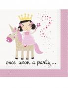 16 tovaglioli di carta principessa e unicorno