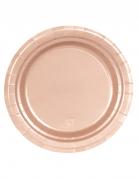 8 piattini in cartone oro rosa 18 cm