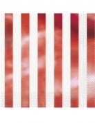 16 tovaglioli di carta a righe rosso metallizzato