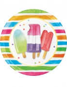 8 piatti in cartone Hello Summer 22 cm
