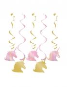 5 sospensioni a tema unicorno pastello e oro