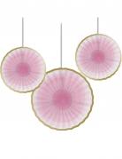 3 rosoni di carta rosa con bordino color oro