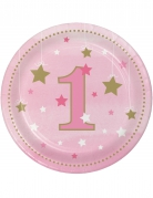 8 piattini Little Star 1 anno rosa 18 cm