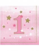 16 tovaglioli di carta Little Star 1 anno rosa