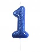 Candelina brillantini blu numero 1
