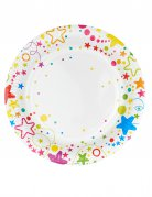 6 piatti in cartone stelle e pois colorati 23 cm
