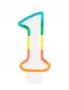 Candelina colorata con brillantini numero 1
