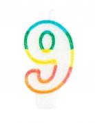 Candelina colorata con brillantini numero 9