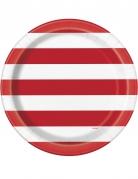 8 piatti in cartone con righe bianche e rosse 23 cm