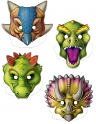 4 maschere da dinosauro in cartone