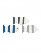 6 pesci decorativi in legno blu e grigi