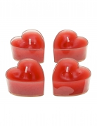 4 candele scalda vivande cuori rossi