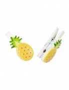 6 mollette decorative ananas in resina