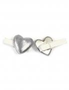 6 mollette decorative con cuore argento