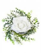 Centrotavola con foglie e rosa bianca