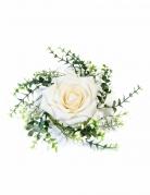 Centrotavola con foglie e rosa avorio
