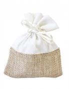 4 sacchetti in tela e tessuto bianco