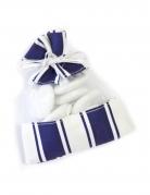 5 sacchetti in organza a righe bianche e blu